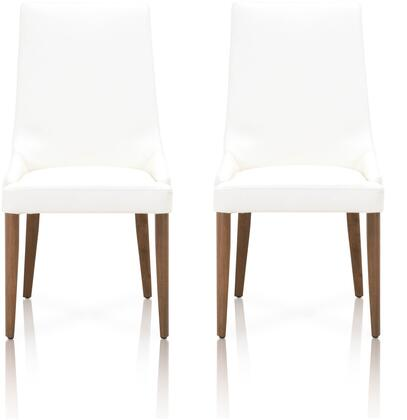 Orchard Collection 5131.ALA/WAL Set of 2 Aurora Dining Chairs with Tapered Legs  Transitional Style  Curved Backrest and Soft Top Grain Leather