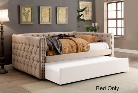 Suzanne Collection CM1028F-BED Full Size Daybed with Tuxedo-Inspired Design  Linen-Like Fabric  Button Tufted  Nailhead Trim and Solid Wood