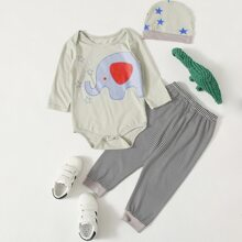 Baby Girl Cartoon Elephant Print Bodysuit & Striped Sweatpants & Hat