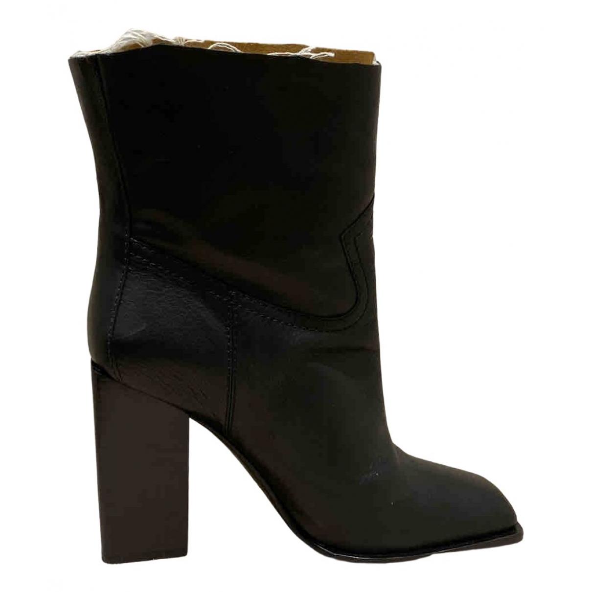 Saint Laurent N Black Leather Boots for Women 39.5 EU