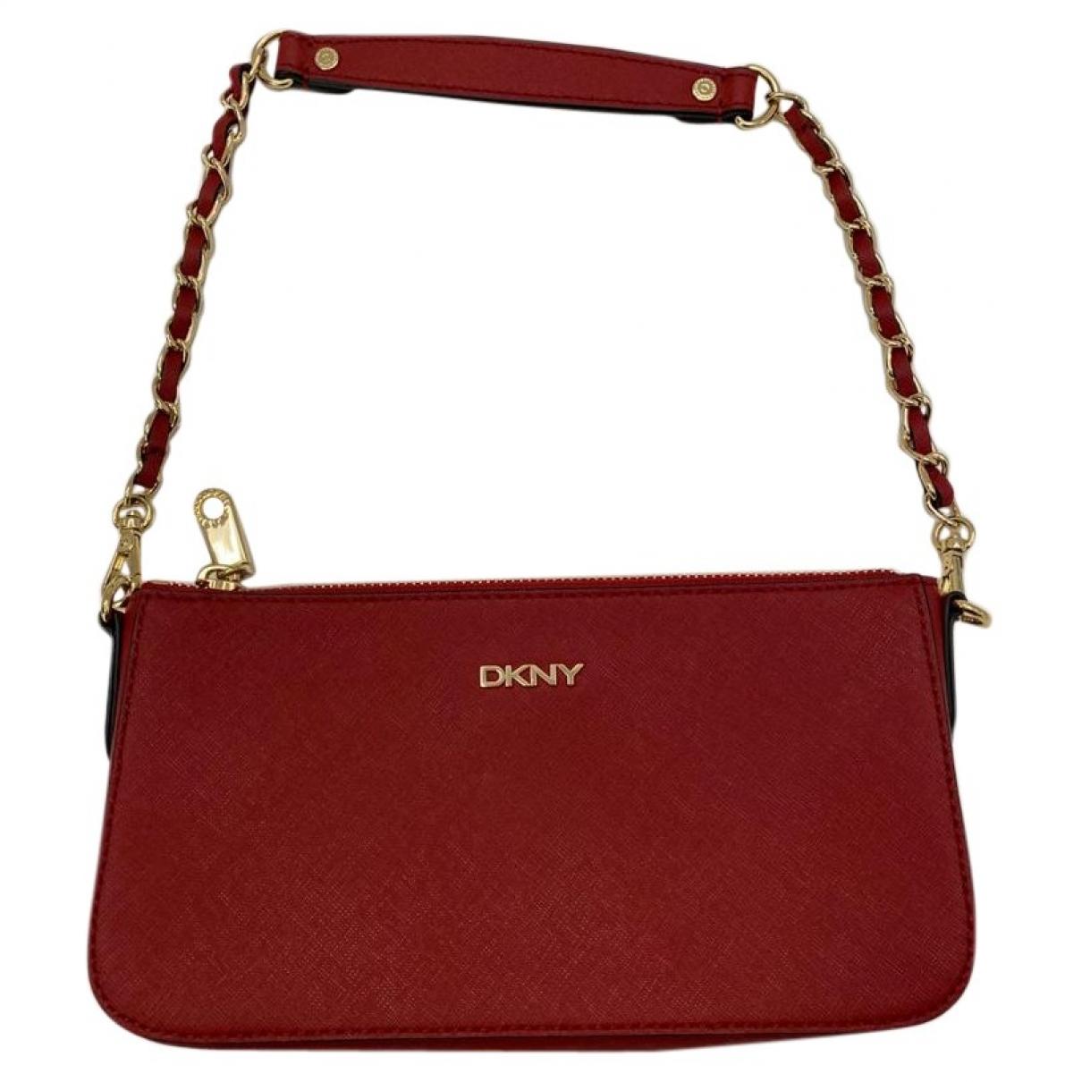 Dkny - Pochette   pour femme en cuir - rouge
