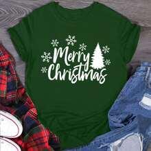 Camiseta de cuello redondo con estampado de navidad