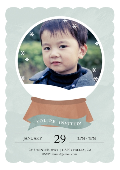 Kids Birthday Party 5x7 Cards, Premium Cardstock 120lb with Rounded Corners, Card & Stationery -Snow Globe Gala