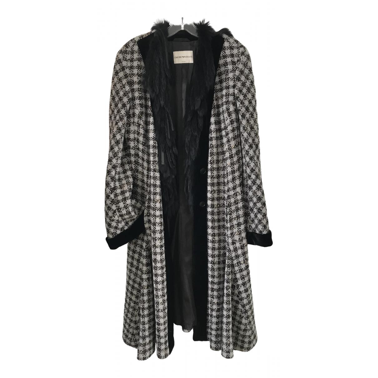 Emporio Armani - Manteau   pour femme en laine - gris