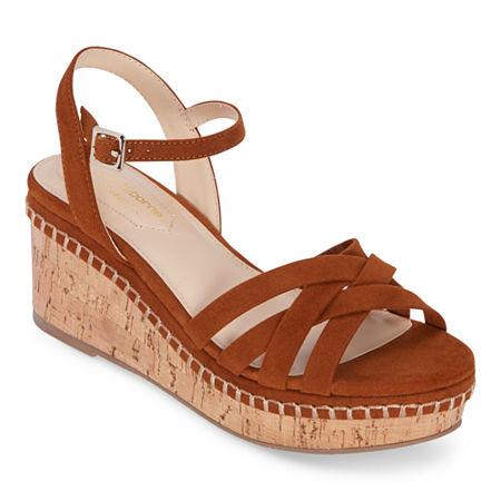 Liz Claiborne Womens Thatcher Wedge Sandals, 11 Medium, Brown