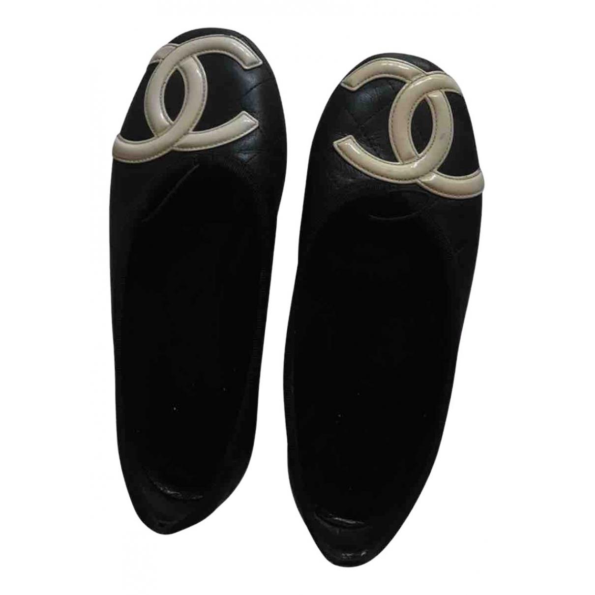 Chanel Cambon Ballerinas in  Schwarz Leder