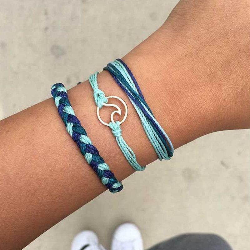 Bohemian Multilayer Bracelets A Set of Wax Rope Hollow Geometric Bracelets Ethnic jewelry for Women