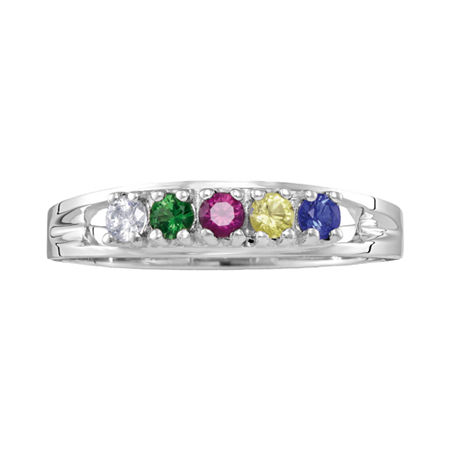 Personalized Sterling Silver Simulated Birthstone Family Ring, 8 1/2 , No Color Family