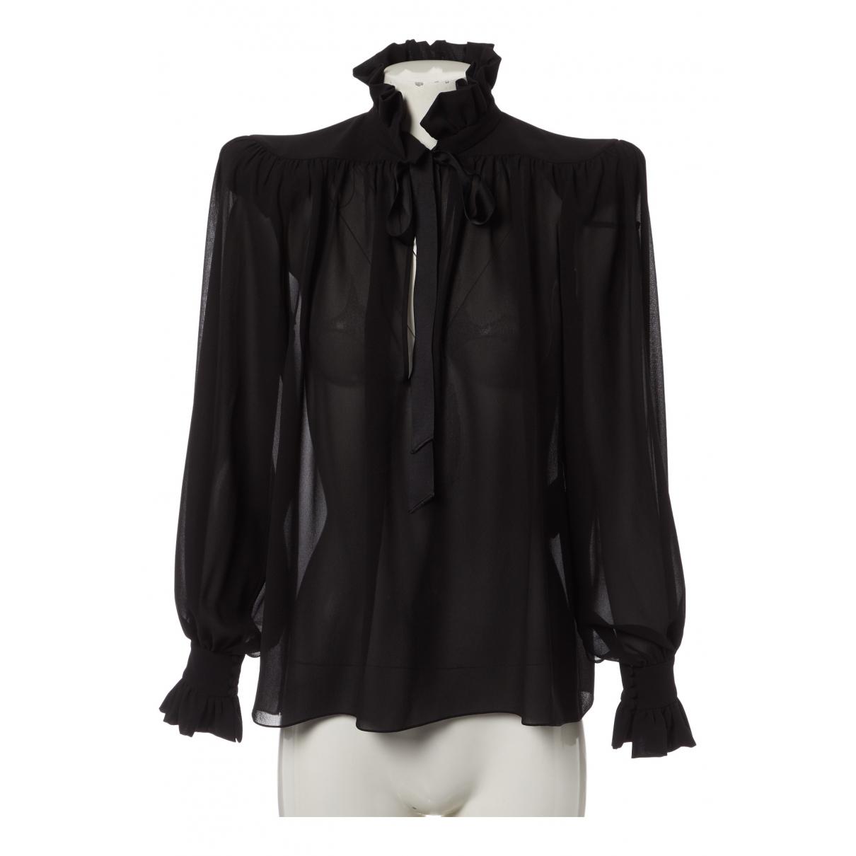 Saint Laurent \N Black Silk  top for Women 36 FR