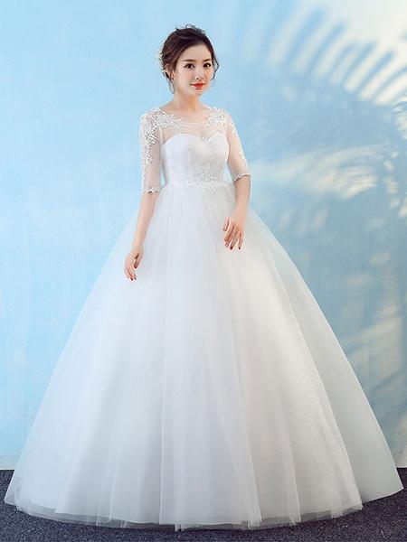 Milanoo Ball Gown Wedding Dresses White Lace Half Sleeve Illusion Floor Length Princess Bridal Dress