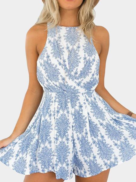 Yoins Blue Floral Print Sleeveless Self-tie Back Playsuit
