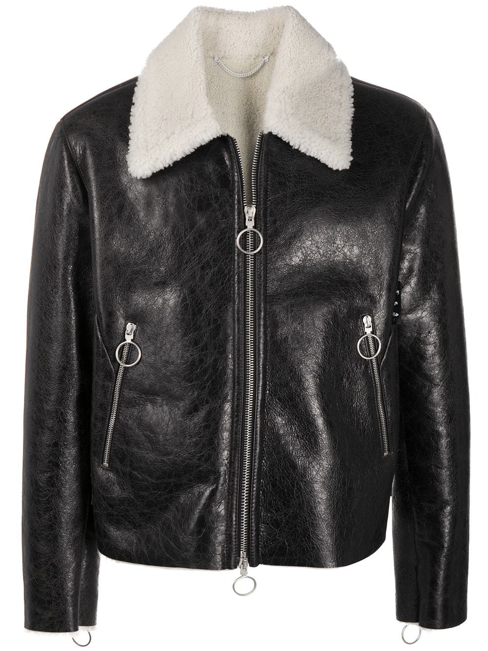 Offf Shearling Leather Jacket