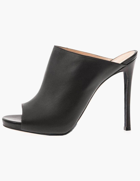 Milanoo Mules Shoes Black Stiletto Heel PU Leather Slip on Shoes for Women