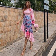 Vestidos Capas relajadas Floral Elegante