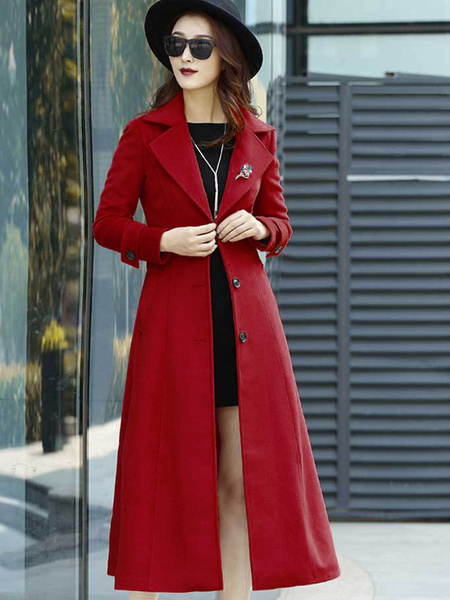 Milanoo Red Wrap Coat Turndown Collar Long Sleeves Buttons Oversized Casual Outerwear For Woman