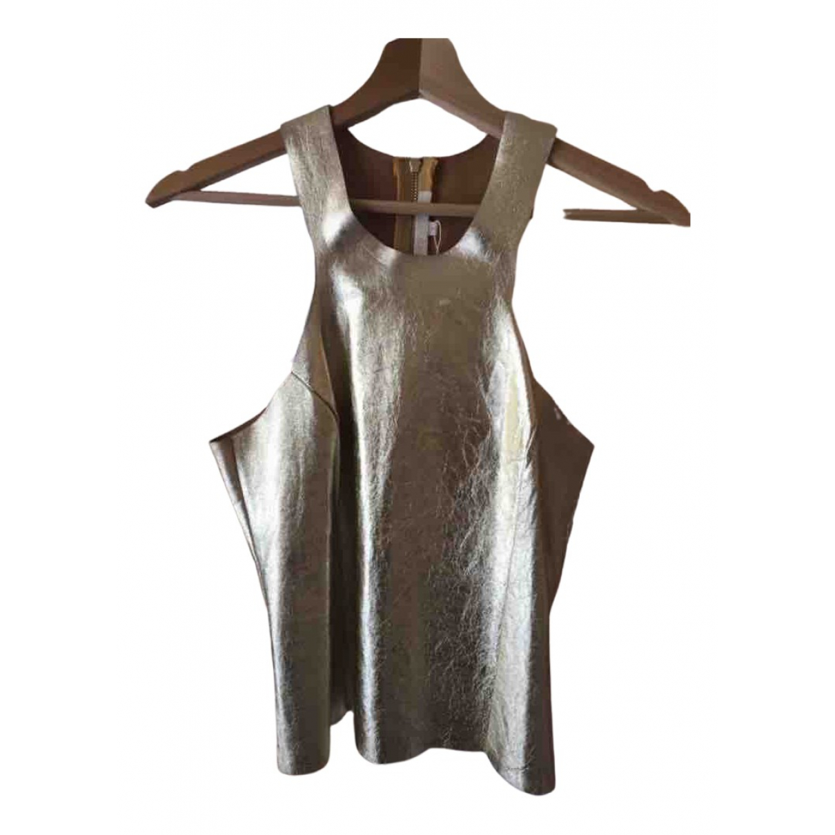 Maje N Gold Leather  top for Women 34 FR
