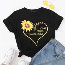 T-Shirt mit Sonnenblumen & Buchstaben Grafik