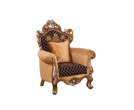 Emperador Collection Luxury Accent Chair   Hand Carved and Handcrafted  Seat Cushions Reversible  Mahogany Wood Solid  in Antique Brown Silver and
