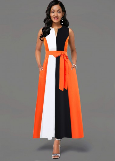 Women'S Orange Sleeveless Belted Split Neck Maxi Dress Color Block Vintage Elegant Cocktail Party Dress By Rosewe - 10