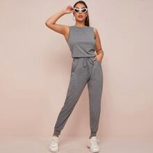 Conjunto de pijama tank con pantalones deportivos de cintura con cordon