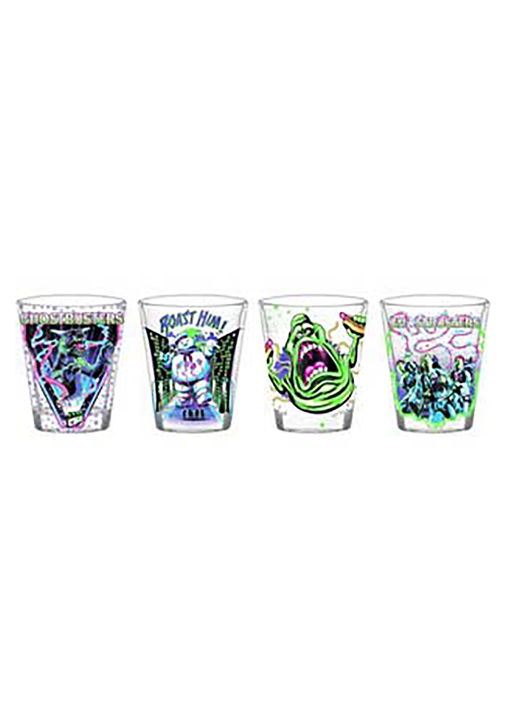 Ghostbusters Neon Shot Glass Sets - 4 Pc Clear Glass