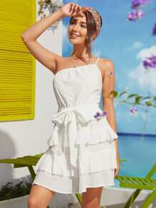 One Shoulder Self Belted Layered Ruffle Hem Swiss Dot Dress