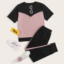 Plus Contrast Panel Short Sleeve Tee & Sweatpants