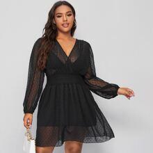 Plus Surplice Neck Swiss Dot Shirred Waist Sheer Dress