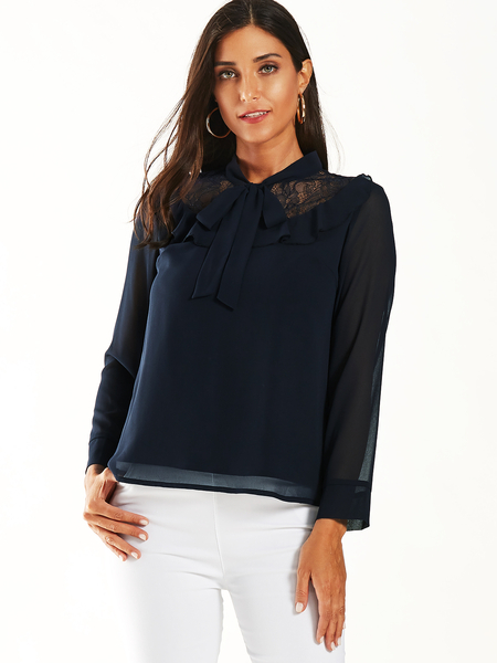 YOINS Navy Lace Patchwork Knotted Design Chiffon Blouse