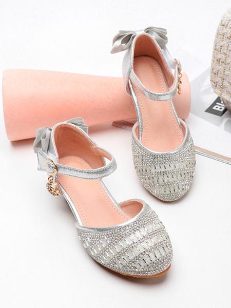 Milanoo Zapatos de niña de las flores Zapatos de desfile de arcos de punta redonda con lentejuelas plateados para niños