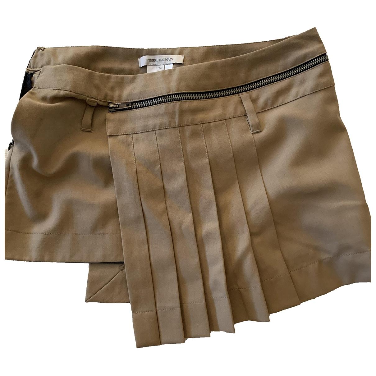 Pierre Balmain \N Beige Cotton skirt for Women 38 FR