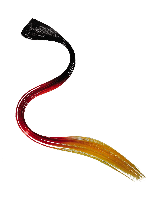 Haarverlaengerung Deutschland 48cm Farbe: schwarz/rot/gold