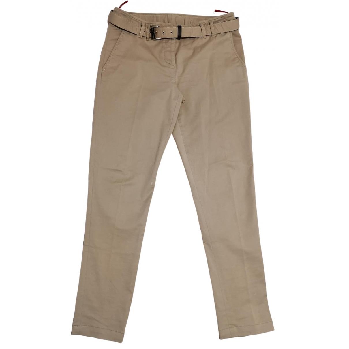 Prada \N Beige Cotton Trousers for Women 42 IT
