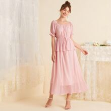 Square Neck Knot Detail Puff Sleeve Dress