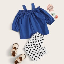 Toddler Girls Frill Trim Open Shoulder Blouse & Polka Dot Pants