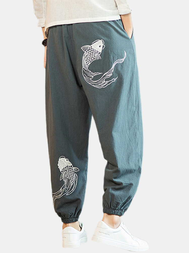 Mens Chinese Style Lucky Fish Embroidery Elastic Waist Plain Carrot Pants
