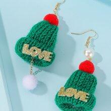 Christmas Hat Charm Drop Earrings