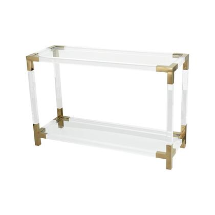 1114-306 Equity Console Table  In Clear Acrylic  Gold Plated Stainless