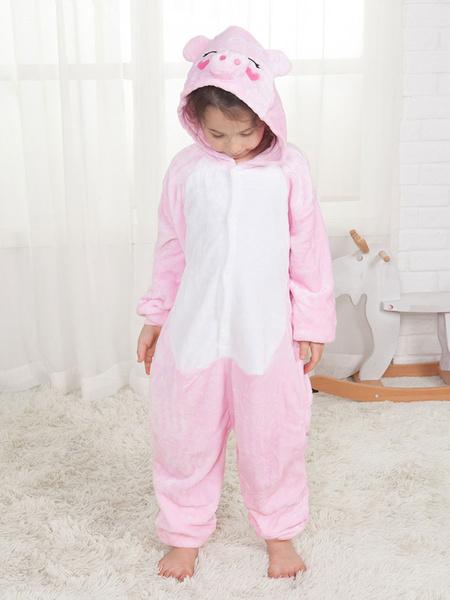 Milanoo Pig Onesie Kigurumi Kids Pink Unisex Flannel Winter Sleepwear Mascot Animal Halloween Costume