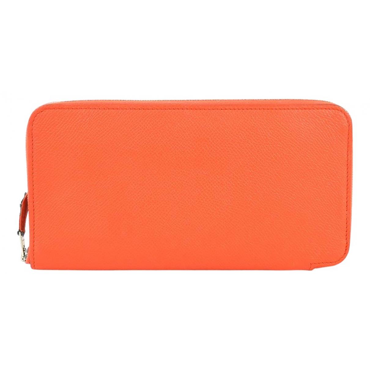 Hermes - Portefeuille Silkin pour femme en cuir - orange