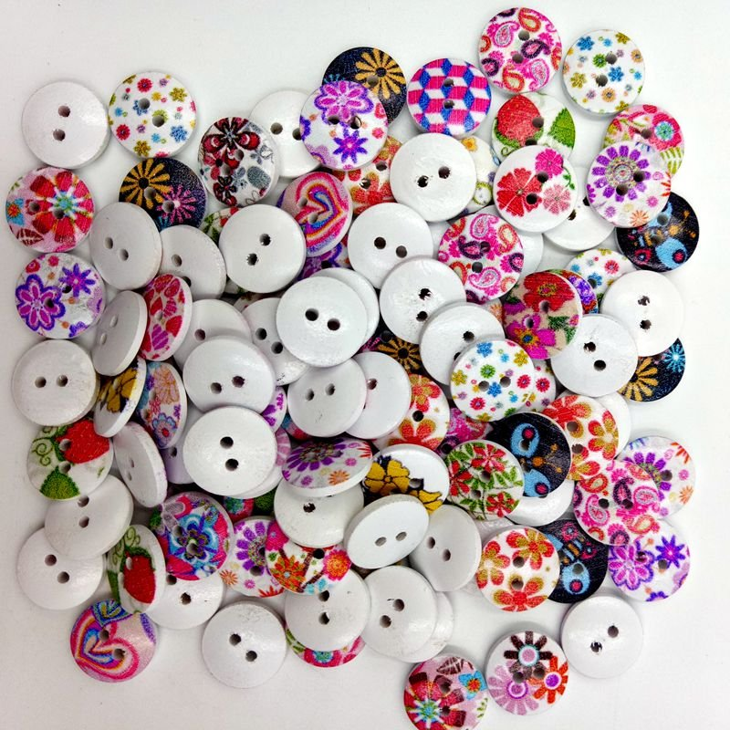 100 Pcs 15mm Colorful Flower Sewing Buttons Washable Buttons Decoration DIY Materials