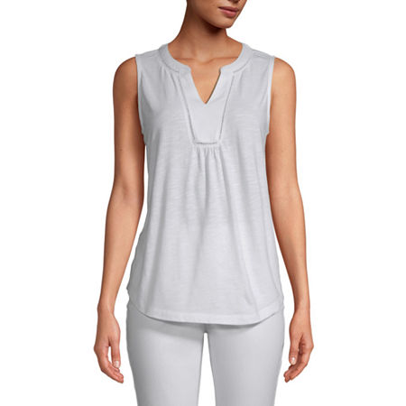 St. John's Bay Womens Y Neck Sleeveless Tank Top, Xx-large , White