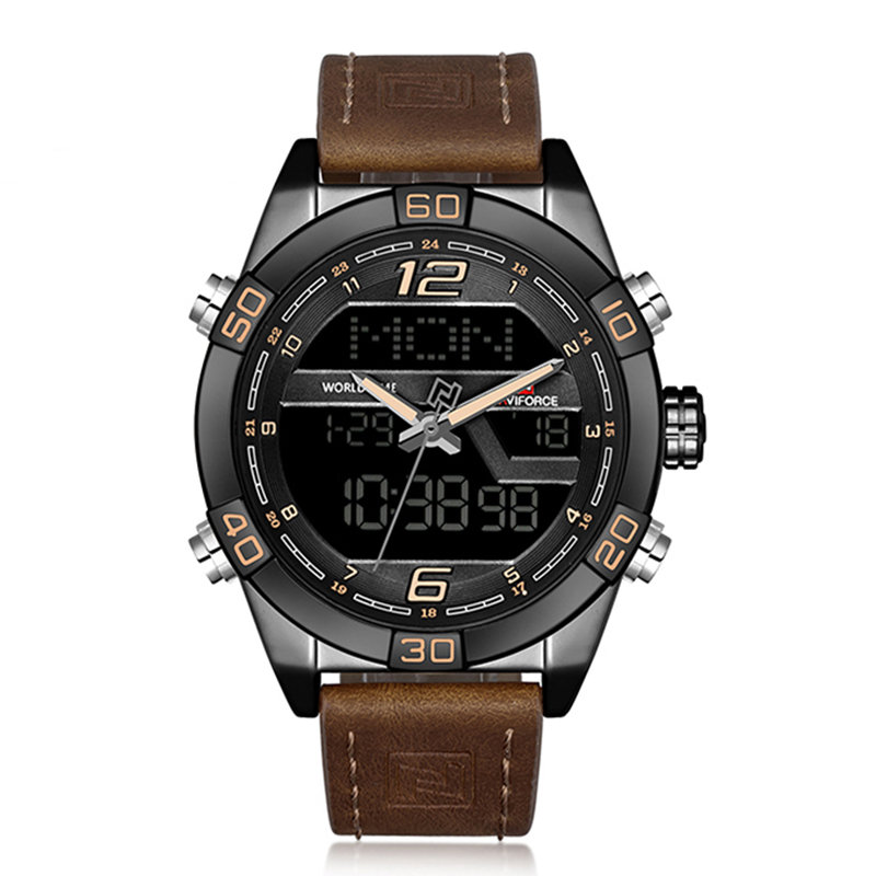NAVIFORCE Dual Display Digital Watches Leather Chronograph Alarm Sport Mens Watches