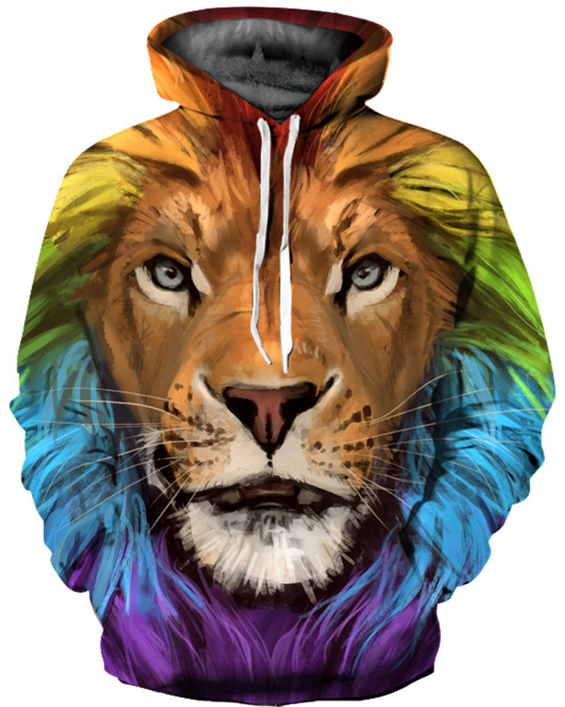 Pullover Kangaroo Pocket Casual Style Pullover 3D Painted Hoodie