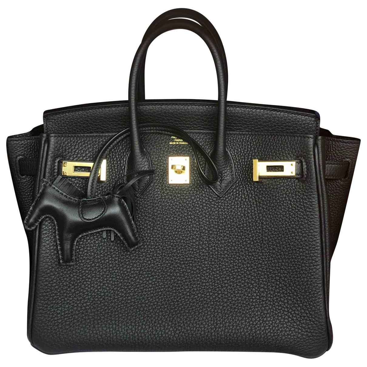 Hermes - Sac a main Birkin 25 pour femme en cuir - noir