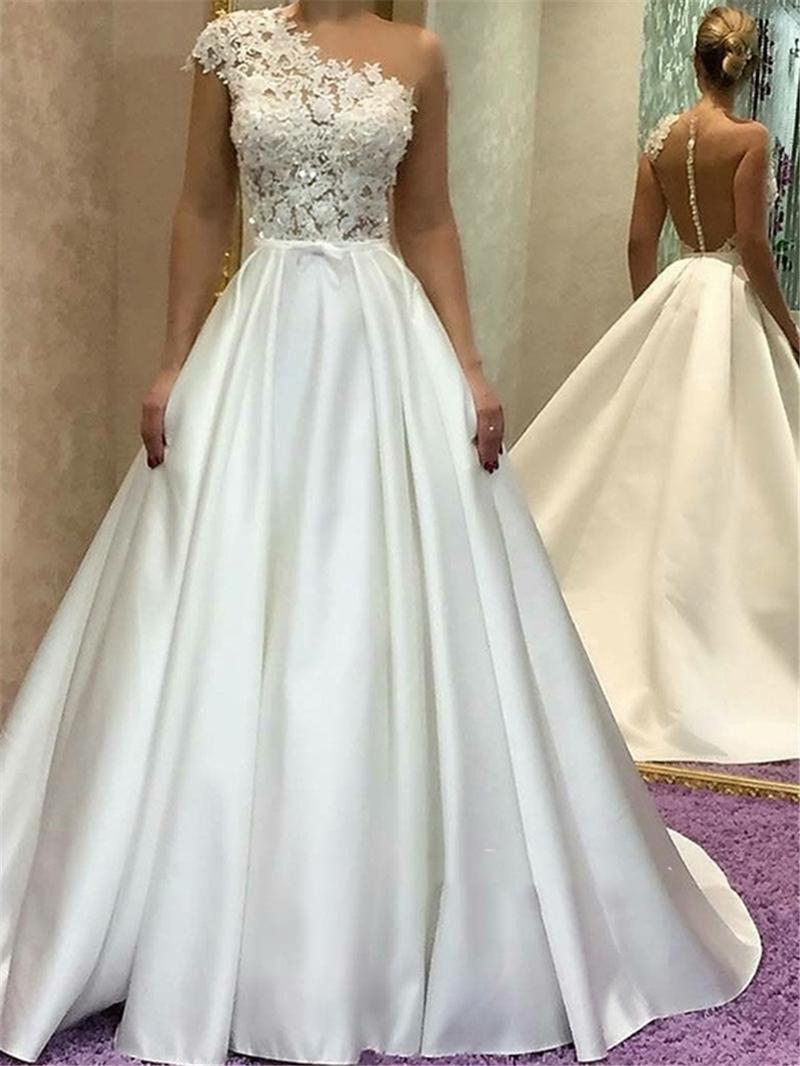 Ericdress Cap Sleeves Jewel Neck Appliques Wedding Dress
