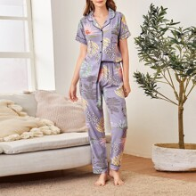 Tropical Print Pocket Front Lapel Neck PJ Set