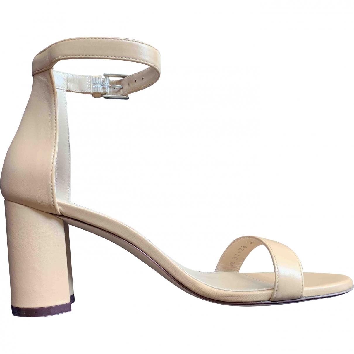 Stuart Weitzman \N Beige Leather Sandals for Women 38 EU