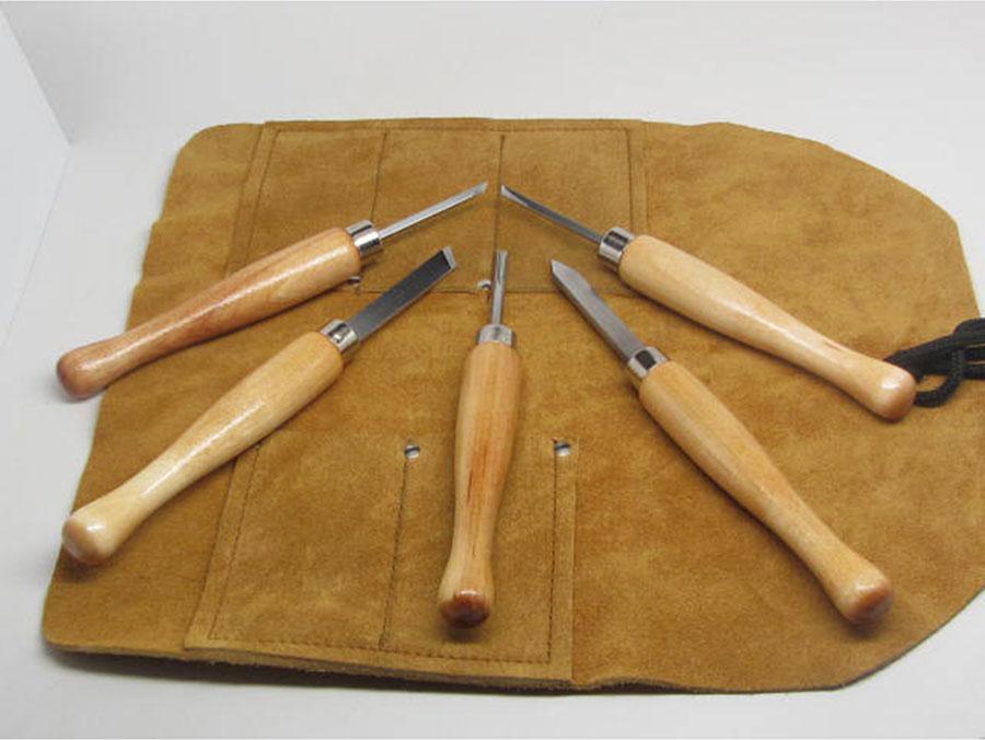 5pc Mini Lathe Woodturning Tools w/Tool Roll