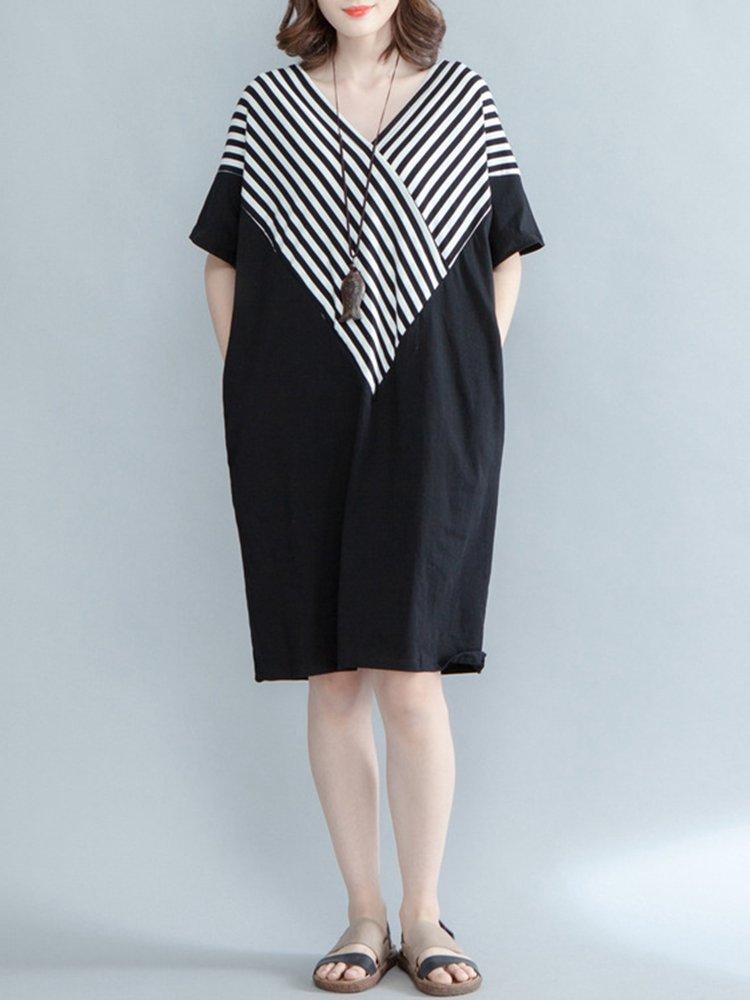 Casual Stripe Patchwork Loose Half Sleeve V-neck Women Dress